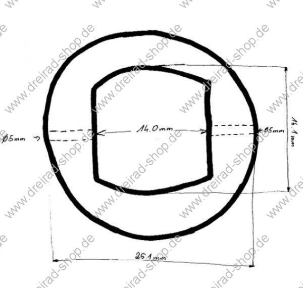 Dreirad Differential Skizze Abmessungen