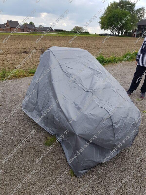 Große Wetterschutzplane für Erwachsenen Dreirad Farbe Grau