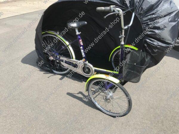 Wetterschutzplane für Erwachsenen Dreirad Farbe Schwarz mit Trike