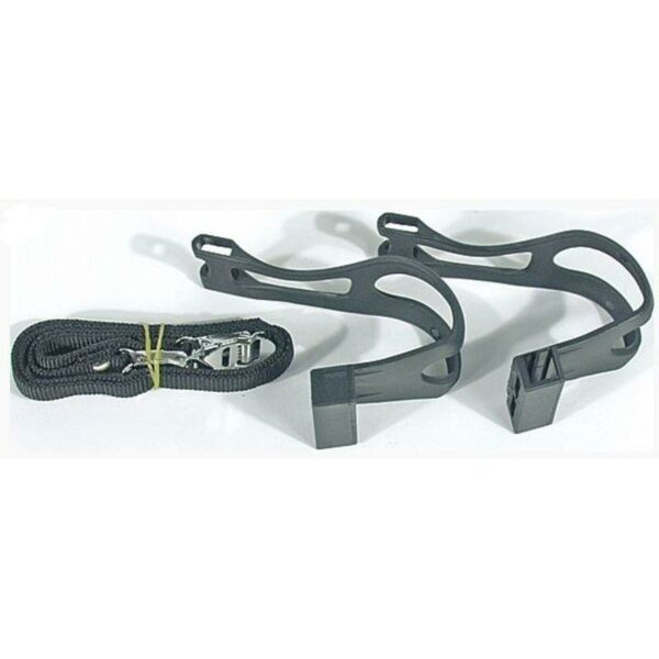 Nie mehr von der Pedale abrutschen - Pedalhaken Kunststoff schwarz - Paar mit Riemen